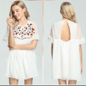 Zara White Floral Embroidered Romper